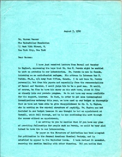 Letter from Linus Pauling to Warren Weaver. Page 1. August 7, 1940
