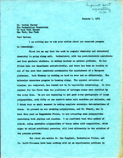Letter from Linus Pauling to Warren Weaver. Page 1. January 2, 1941