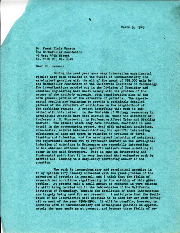 Letter from Linus Pauling to Frank Blair Hanson. Page 1. March 5, 1945