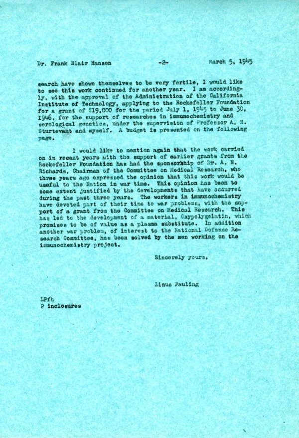 Letter from Linus Pauling to Frank Blair Hanson. Page 2. March 5, 1945