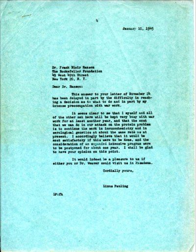 Letter from Linus Pauling to Frank Blair Hanson. Page 1. January 10, 1945
