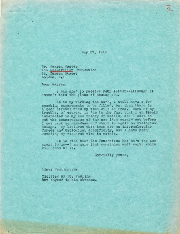 Letter from Linus Pauling to Warren Weaver. Page 1. May 27, 1948