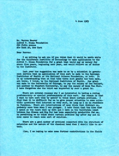 Letter from Linus Pauling to Warren Weaver. Page 1. June 4, 1963