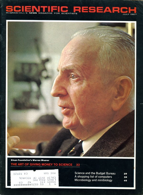 Image of Warren Weaver as published on the cover of Scientific Research magazine.