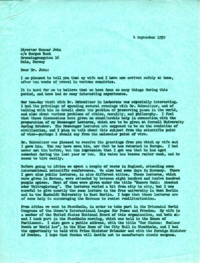 Letter from Linus Pauling to Gunnar Jahn. Page 1. September 4, 1959