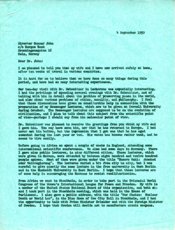 Letter from Linus Pauling to Gunnar Jahn.Page 1. September 4, 1959