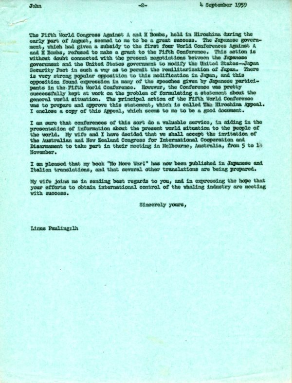 Letter from Linus Pauling to Gunnar Jahn.Page 2. September 4, 1959