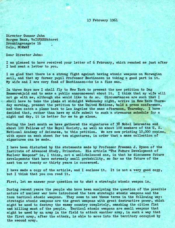 Letter from Linus Pauling to Gunnar Jahn. Page 1. February 13, 1961