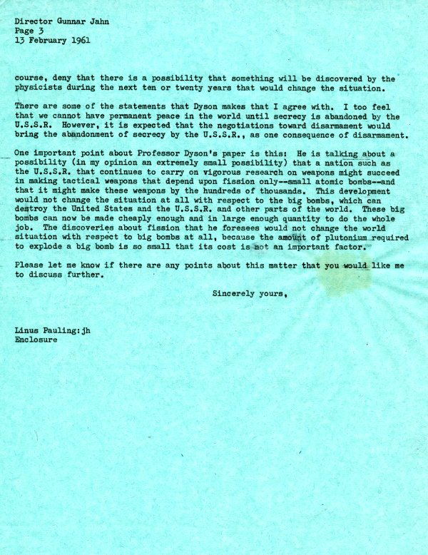 Letter from Linus Pauling to Gunnar Jahn. Page 3. February 13, 1961