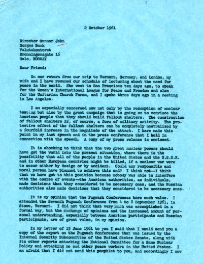Letter from Linus Pauling to Gunnar Jahn. Page 1. October 2, 1961