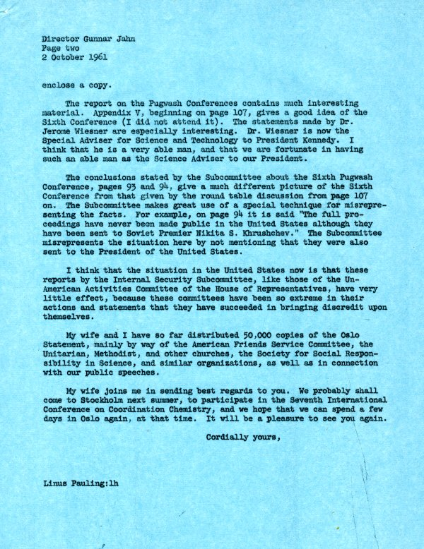 Letter from Linus Pauling to Gunnar Jahn.Page 2. October 2, 1961