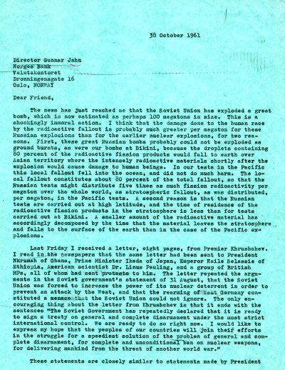 Letter from Linus Pauling to Gunnar Jahn. Page 1. October 30, 1961