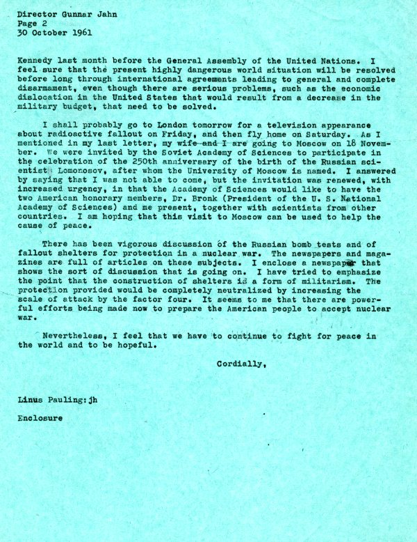 Letter from Linus Pauling to Gunnar Jahn.Page 2. October 30, 1961