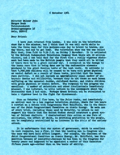 Letter from Linus Pauling to Gunnar Jahn. Page 1. November 6, 1961