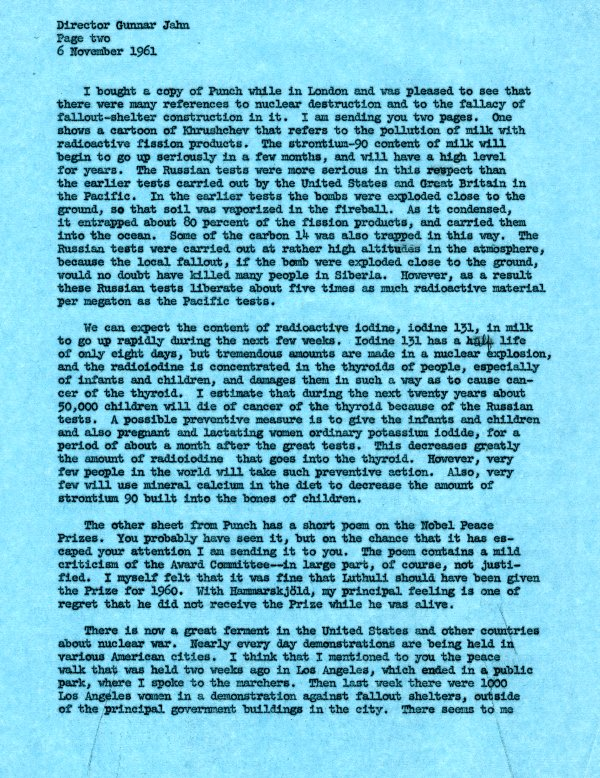 Letter from Linus Pauling to Gunnar Jahn.Page 2. November 6, 1961