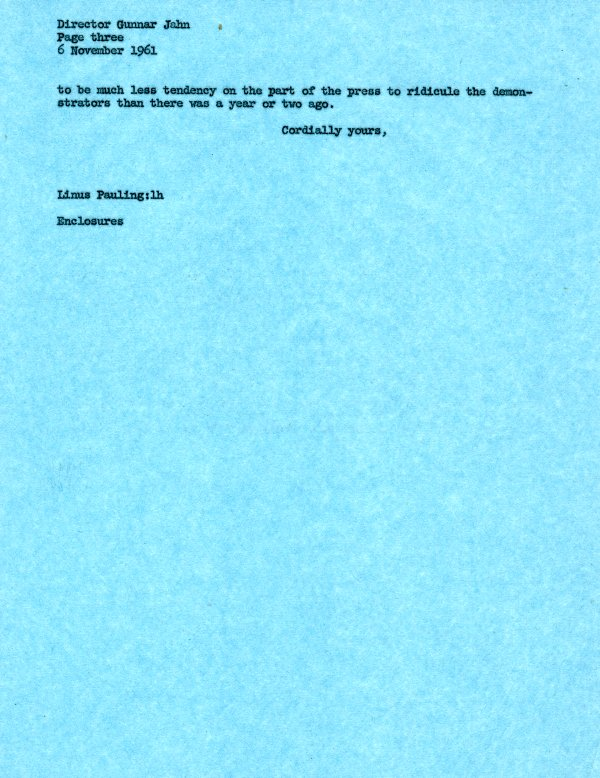 Letter from Linus Pauling to Gunnar Jahn.Page 3. November 6, 1961