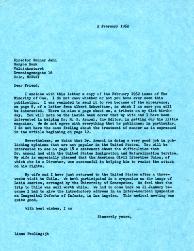 Letter from Linus Pauling to Gunnar Jahn. Page 1. February 2, 1962