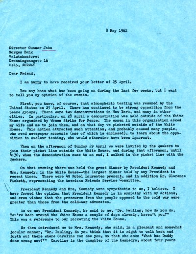 Letter from Linus Pauling to Gunnar Jahn. Page 1. May 8, 1962