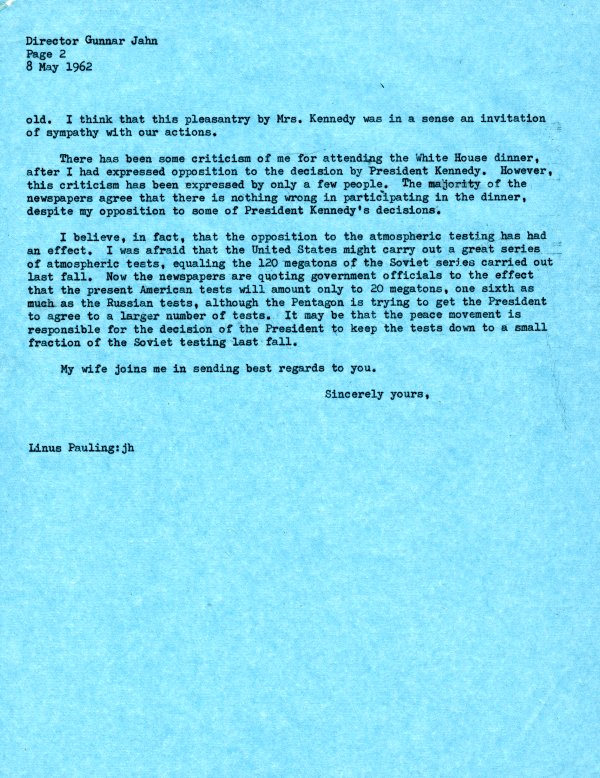 Letter from Linus Pauling to Gunnar Jahn. Page 2. May 8, 1962
