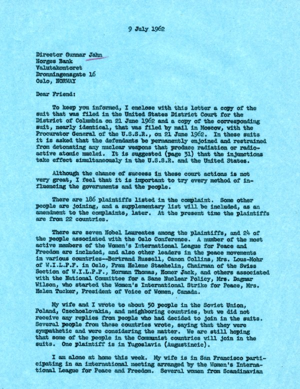 Letter from Linus Pauling to Gunnar Jahn.Page 1. July 9, 1962