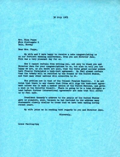 Letter from Linus Pauling to Elna Poppe.Page 1. July 30, 1963