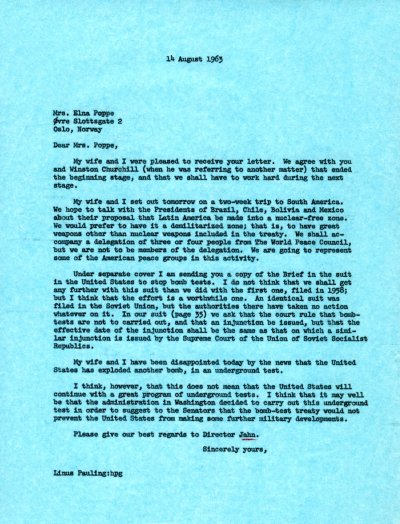 Letter from Linus Pauling to Elna Poppe.Page 1. August 14, 1963