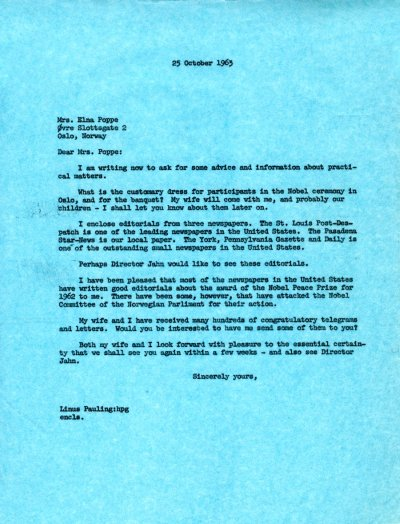 Letter from Linus Pauling to Elna Poppe. Page 1. October 25, 1963