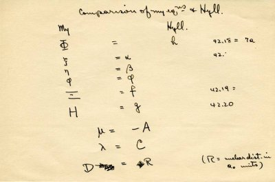 """""""Comparison of my eqns. and Hyll""""Page 1. 1931"""