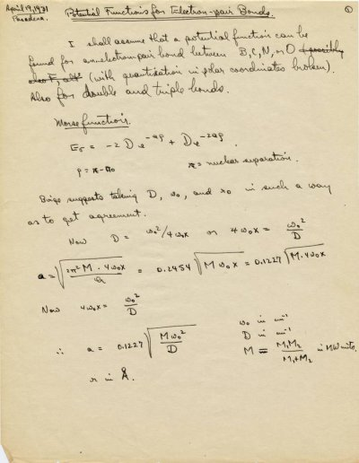 """""""Potential Functions for Electron-pair Bonds.""""Page 1. April 19, 1931"""