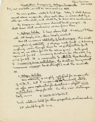 """""""Dissociation Energies of Halogen Compounds.""""Page 1. November 11, 1931"""