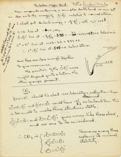 """""""The Carbon-Oxygen Bond.""""Page 1. 1931"""