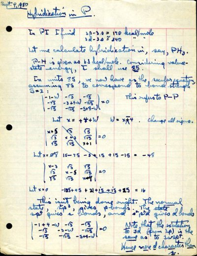 Notes by Linus Pauling concerning hybridization in Phospherus. Page 1. September 9, 1950