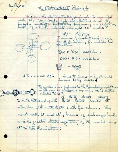Notes by Linus Pauling concerning the electroneutrality principle.Page 1. December 16, 1950
