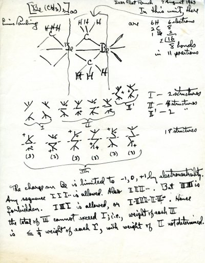 """Manuscript Notes: """"[Be(CH3)2]""""Page 1. August 7, 1963"""