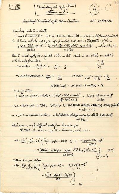 """Heisenberg's Treatment of the Helium Spectrum""Page 1. June 28, 1930"