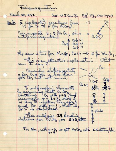 """""""Ferromagnetism""""Page 1. March 30, 1952"""