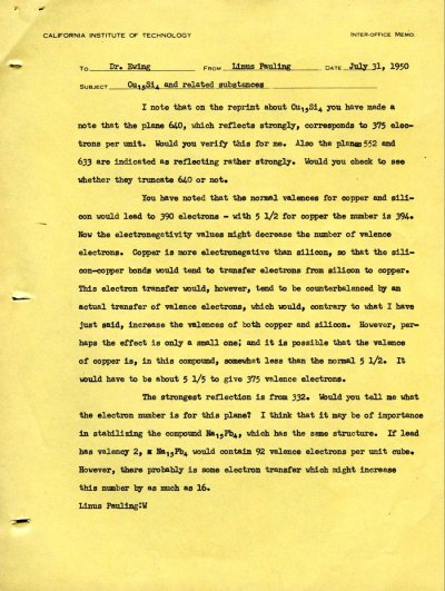 Memorandum from Linus Pauling to Fred Ewing.Page 1. July 31, 1950