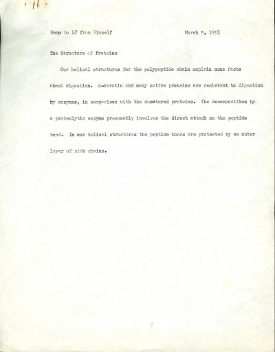 Linus Pauling note to self regarding the structure of proteins.Page 1. March 5, 1951