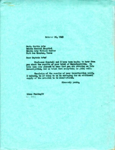 Letter from Linus Pauling to Curtis Artz. Page 1. October 26, 1949