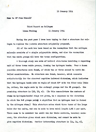 """Third Report on Collagen."" Page 1. January 19, 1954"