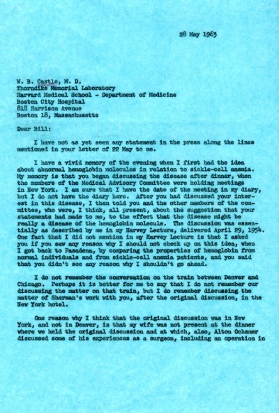 Letter from Linus Pauling to William Castle. Page 1. May 28, 1963