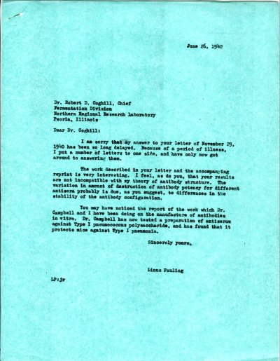 Letter from Linus Pauling to Robert D. Coghill. Page 1. June 26, 1942