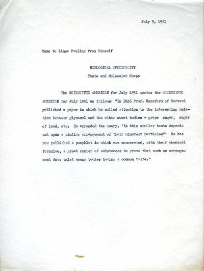 Linus Pauling note to self concerning taste and molecular shape.Page 1. July 9, 1951