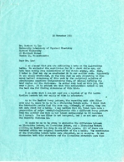 Letter from Linus Pauling to Barbara Low. Page 1. November 10, 1952