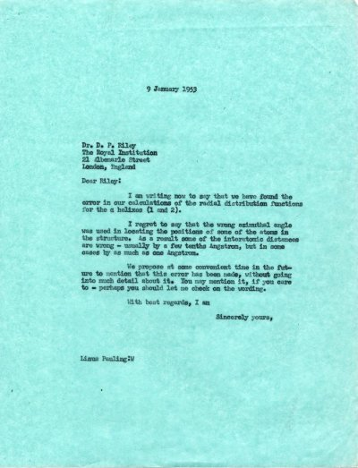 Letter from Linus Pauling to D.P. Riley. Page 1. January 9, 1953