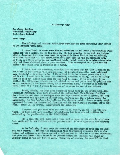 Letter from Linus Pauling to Jerry Donohue. Page 1. January 20, 1953