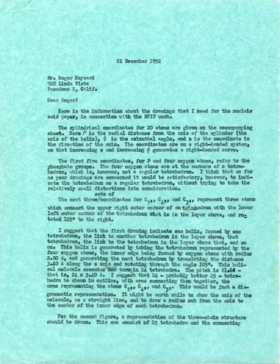Letter from Linus Pauling to Roger Hayward.Page 1. December 22, 1952