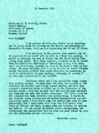 Letter from Linus Pauling to J.T. Randall. Page 1. December 31, 1952