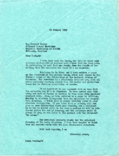 Letter from Linus Pauling to Herbert Kahler. Page 1. January 15, 1953
