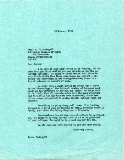Letter from Linus Pauling to H.D. Springall. Page 1. January 29, 1953